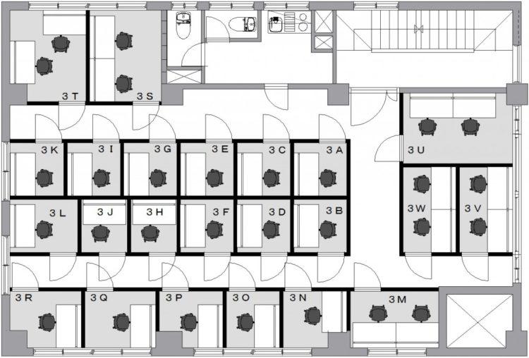 神楽坂オフィスの3Fのフロアマップ