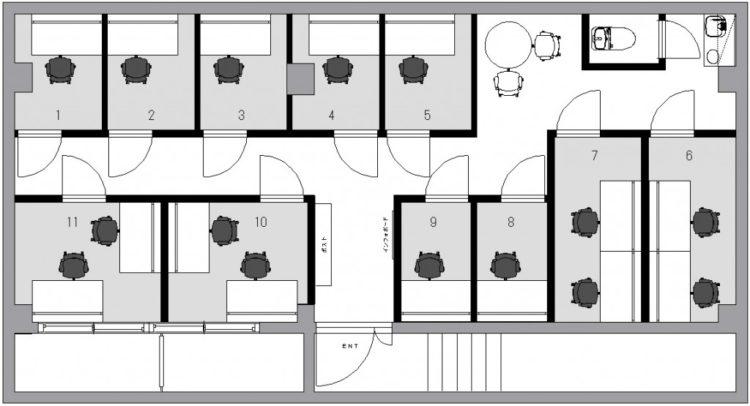 神楽坂五軒町オフィスのB1Fのフロアマップ