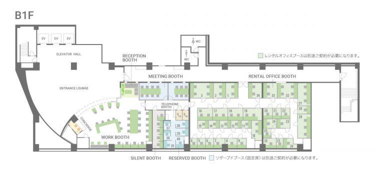 千葉駅前オフィスのB1Fのフロアマップ