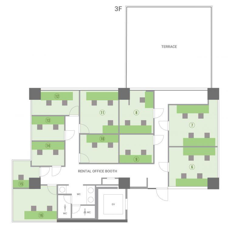 大森山王オフィスの3Fのフロアマップ
