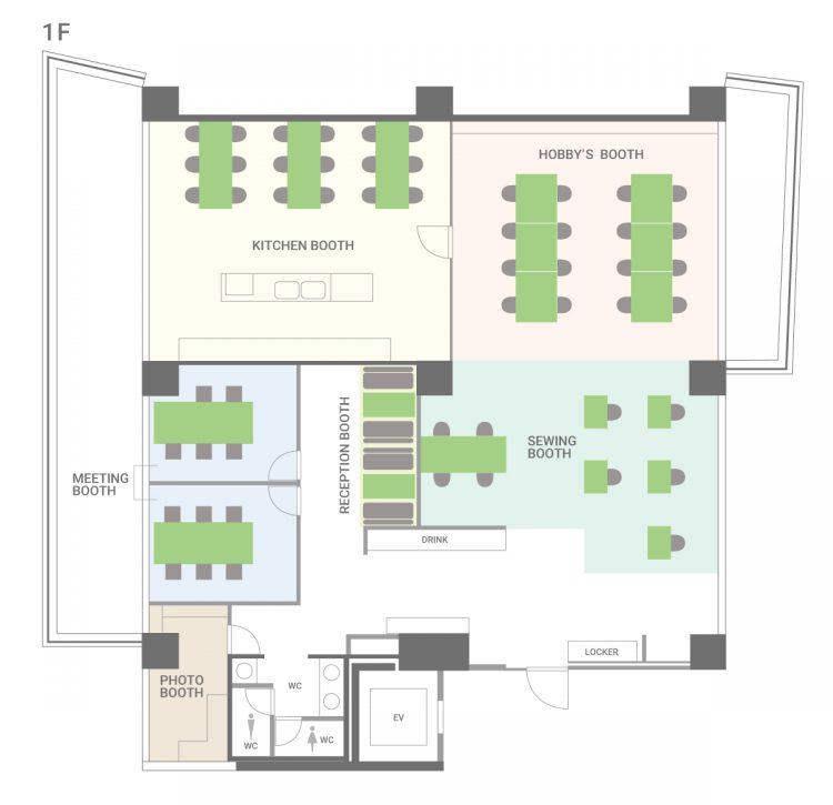 大森山王オフィスの1Fのフロアマップ