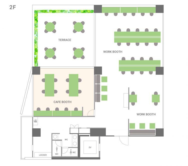 大森山王オフィスの2Fのフロアマップ