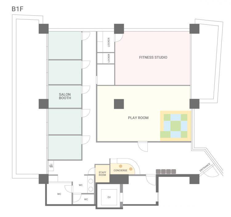 大森山王オフィスのB1Fのフロアマップ