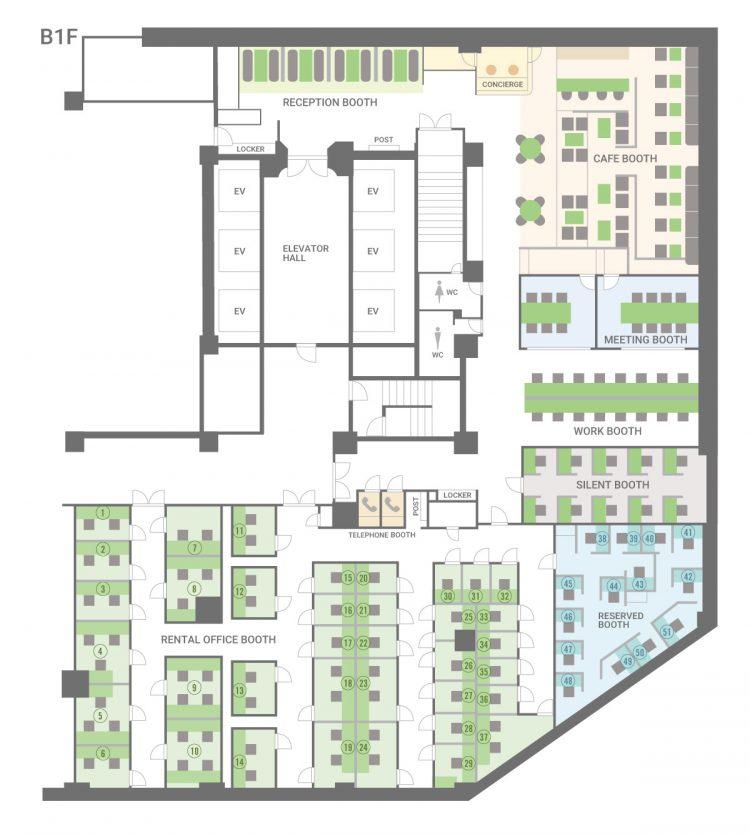 大阪 江戸堀オフィスの1Fのフロアマップ
