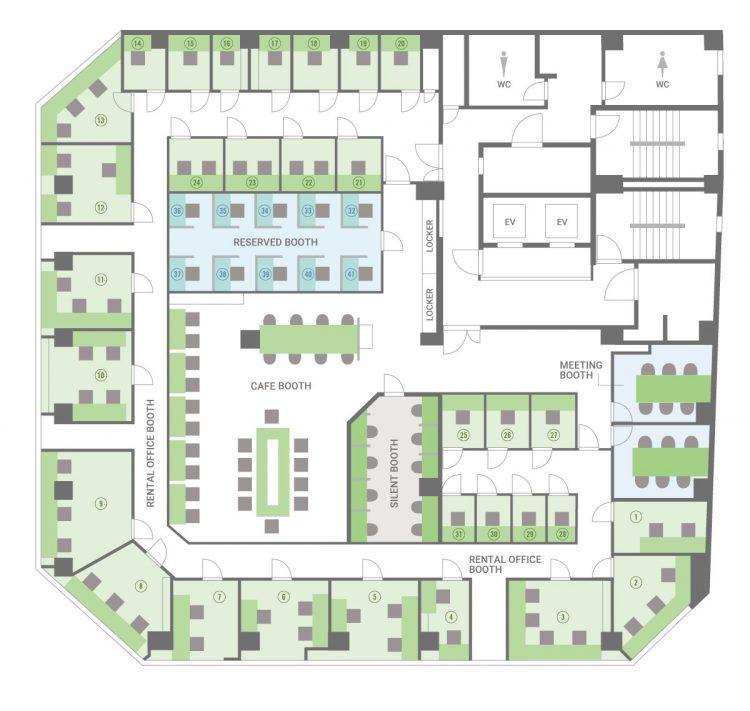 大阪本町-westオフィスの8Fのフロアマップ