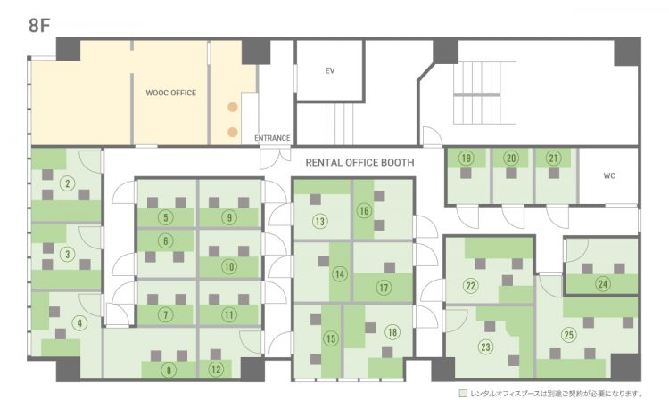谷四駅前オフィスの8Fのフロアマップ