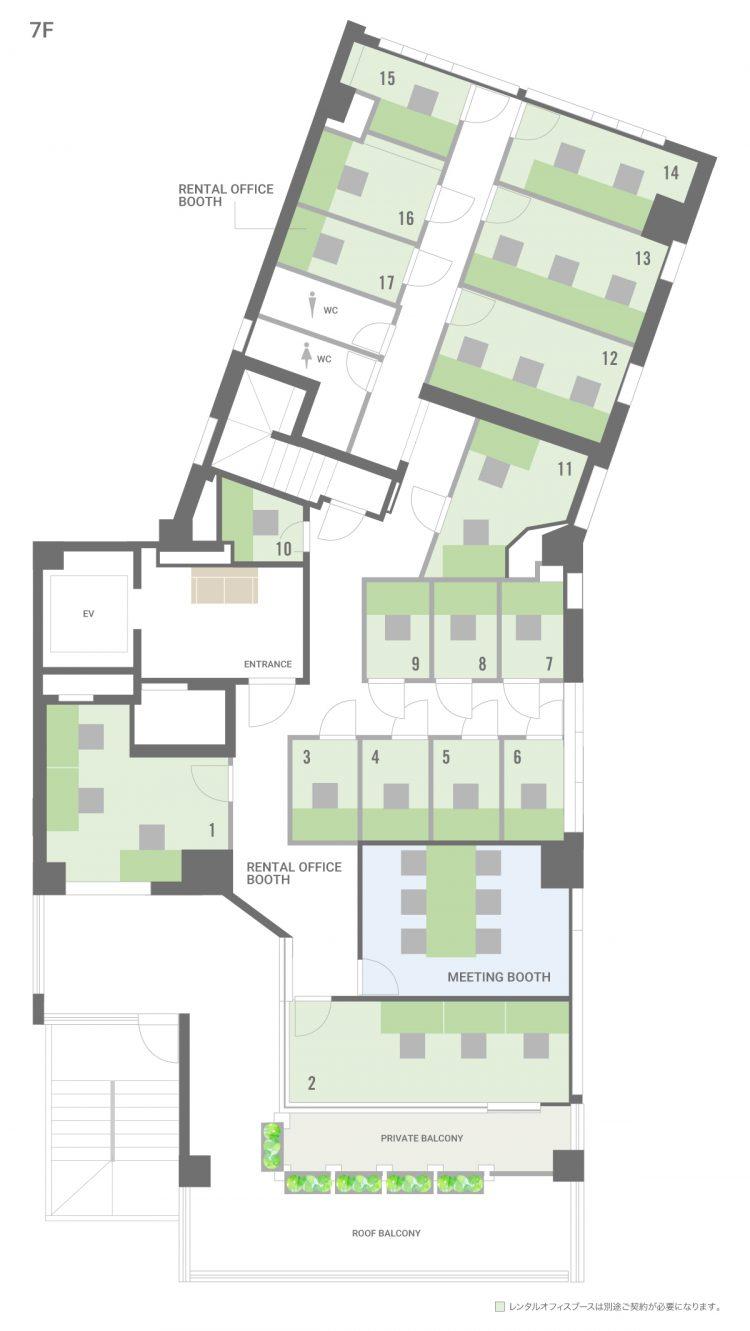 品川 御殿山オフィスの7Fのフロアマップ