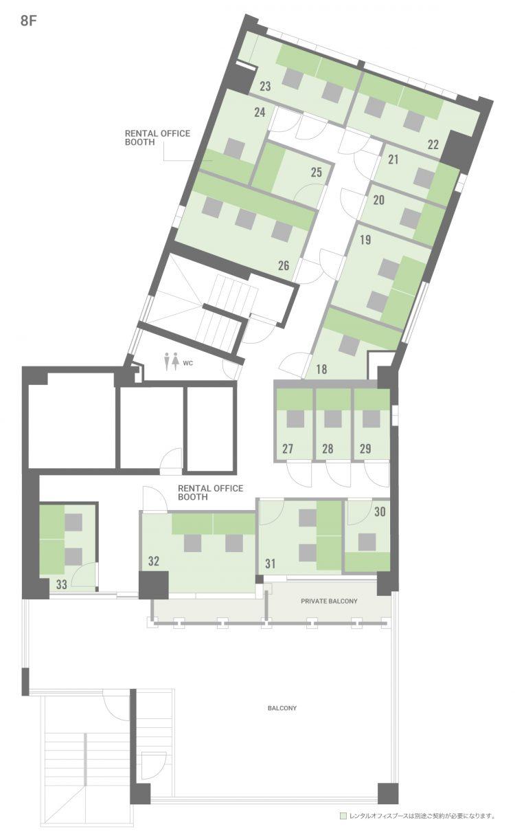 品川 御殿山オフィスの8Fのフロアマップ