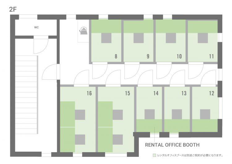 品川泉岳寺オフィスの2Fのフロアマップ