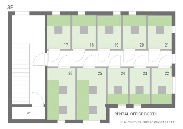 品川泉岳寺オフィスの3Fのフロアマップ