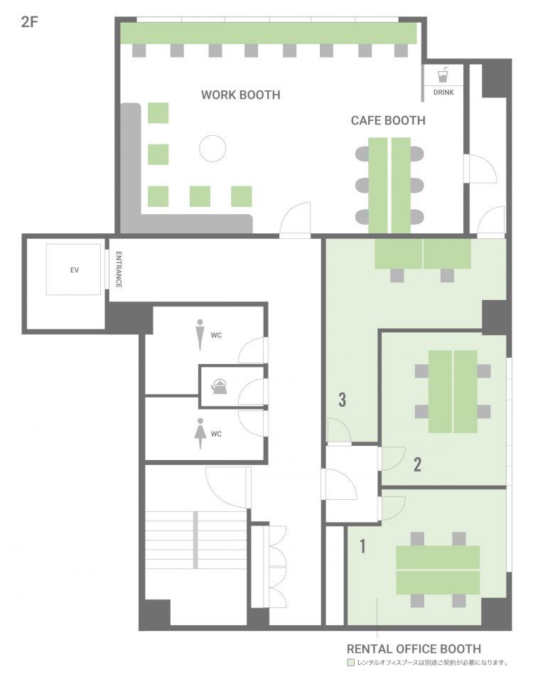 谷町四丁目オフィスの5Fのフロアマップ