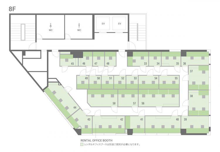 池袋西口オフィスの8Fのフロアマップ