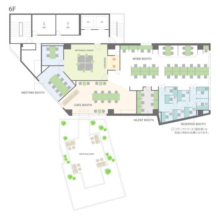 池袋西口オフィスの6Fのフロアマップ