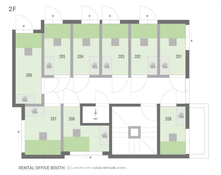 板橋本町オフィスの2Fのフロアマップ