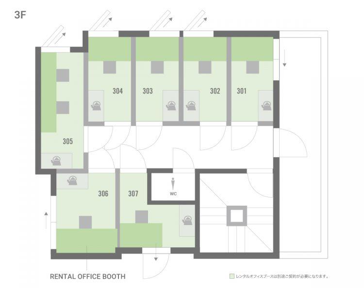 板橋本町オフィスの3Fのフロアマップ