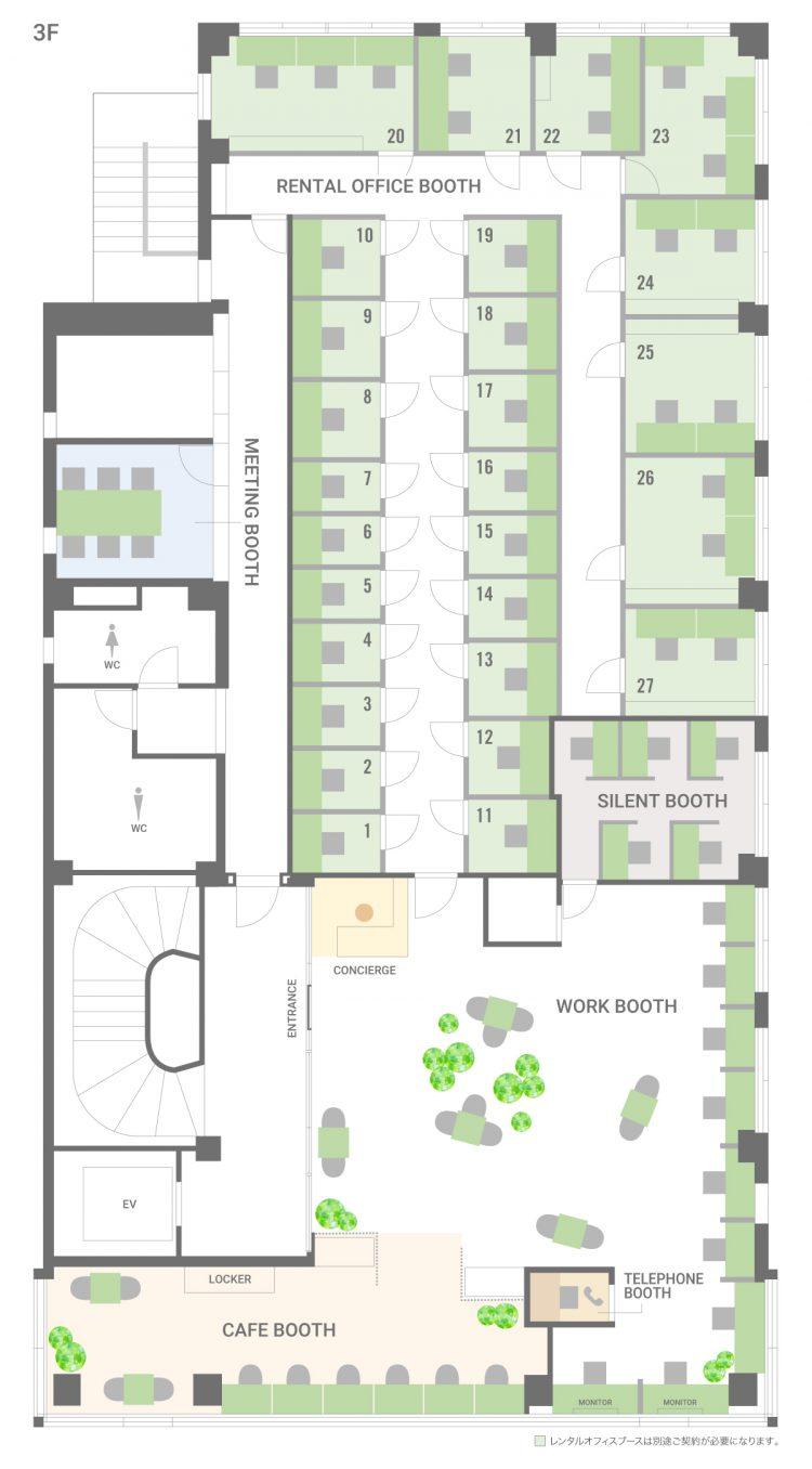 市川妙典オフィス【2020年2月1日OPEN予定】の3Fのフロアマップ