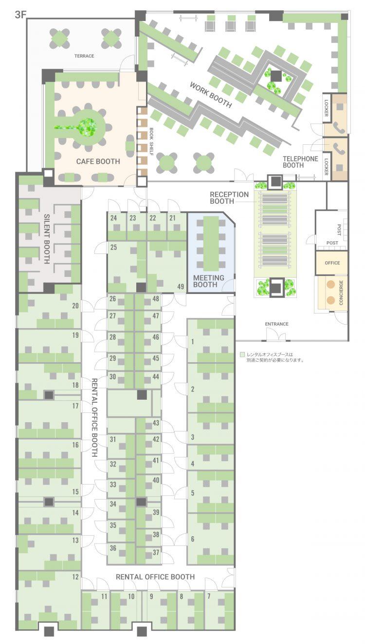センター北オフィス プレミアヨコハマの3Fのフロアマップ
