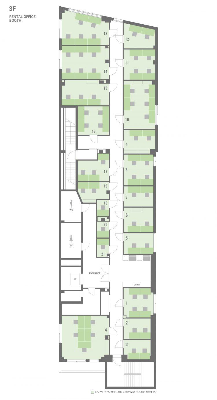 BIZcomfort仙台クリスロードの3Fのフロアマップ