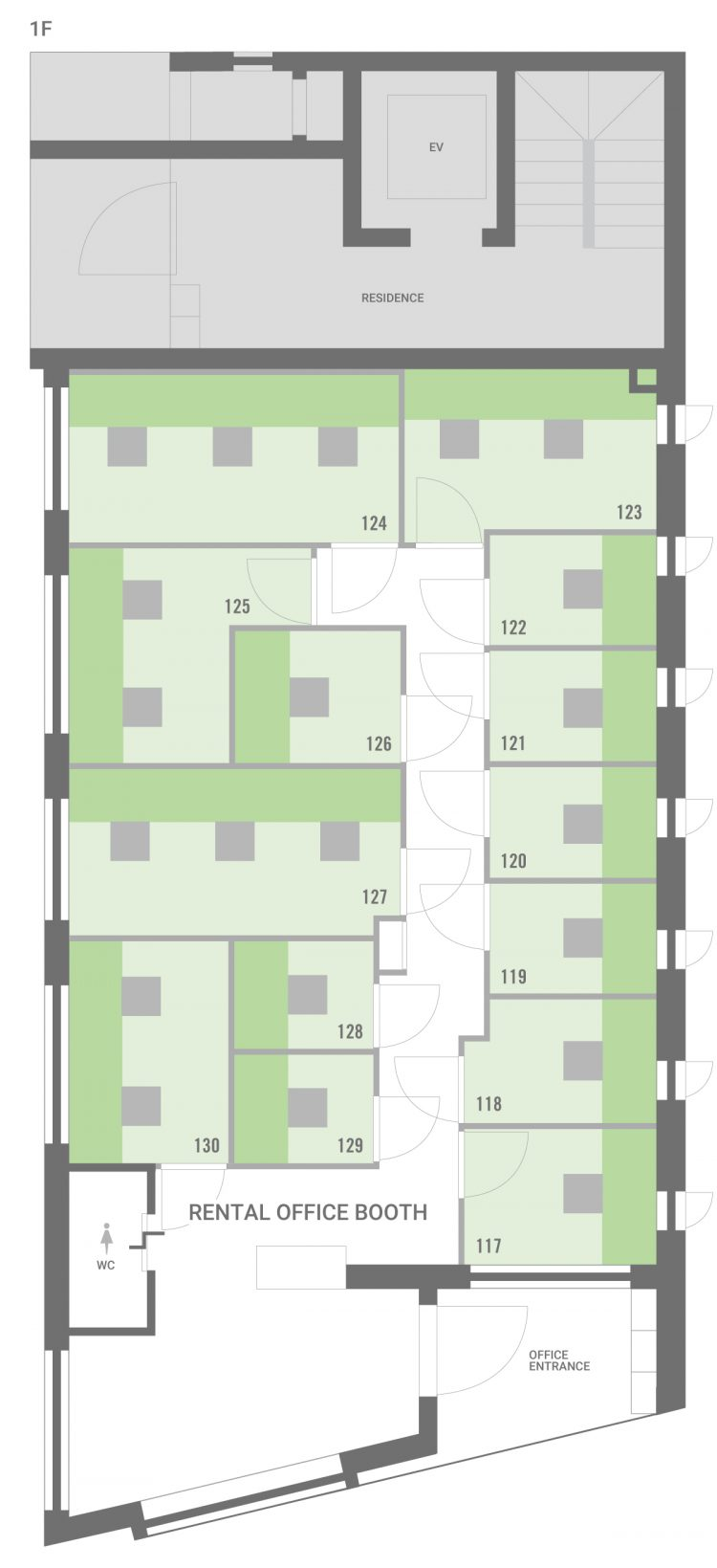 新宿早稲田オフィスの1Fのフロアマップ