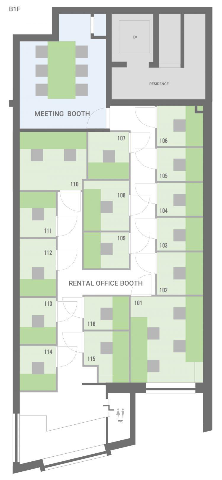 新宿早稲田オフィスのB1Fのフロアマップ