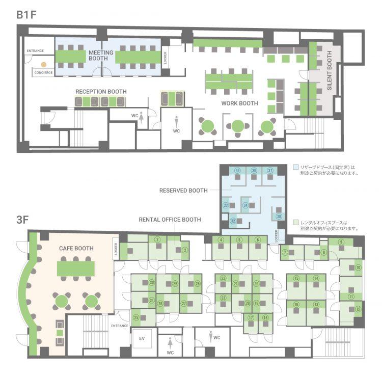 横浜元町ANNEXオフィス【2021年2月8日OPEN】の本館1F&3F(受付)のフロアマップ
