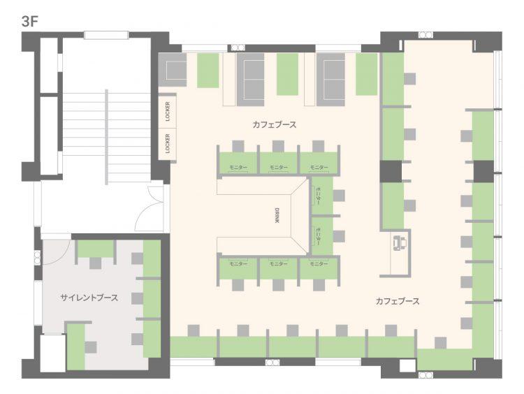 四天王寺オフィス【2021年3月31日新規オープン】 の3Fのフロアマップ
