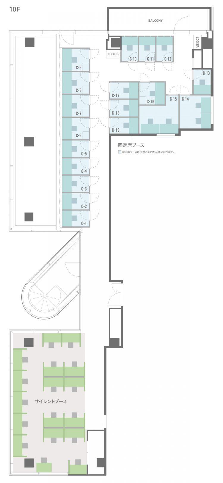 三条木屋町オフィス【6月19日プレオープン予定】の10Fのフロアマップ