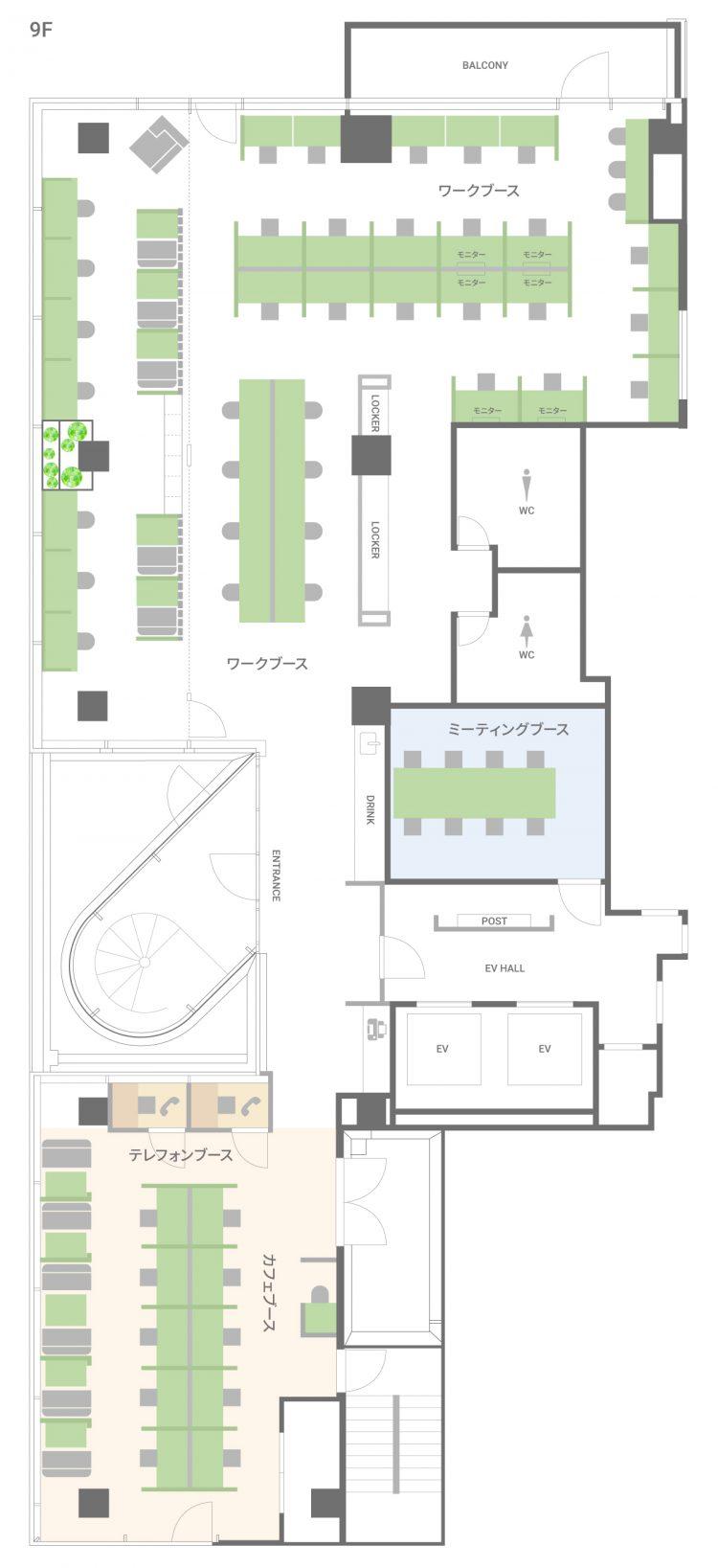 三条木屋町オフィス【6月19日プレオープン予定】の9Fのフロアマップ